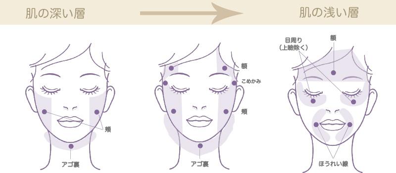 アオハルHIFU(ハイフ)の顔への照射イメージ。肌の深い層への照射範囲、浅い層への照射範囲など